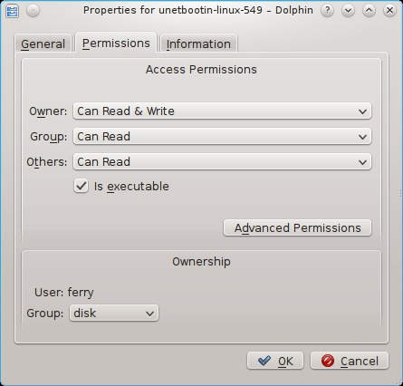 Tampilan hak akses di Linux